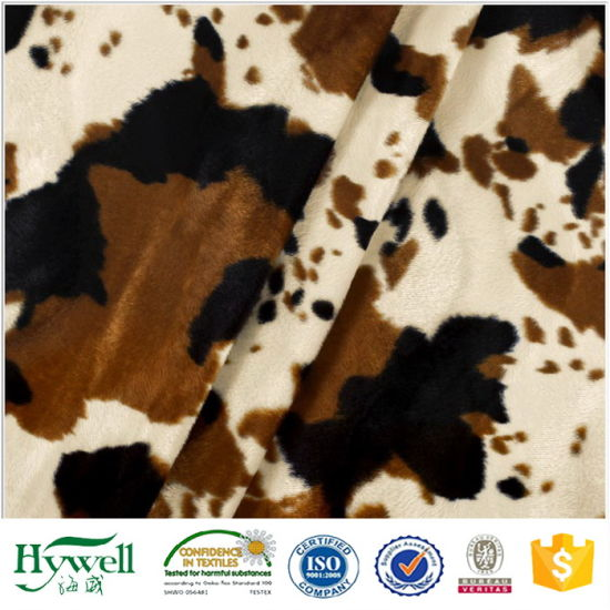 Cow Print Velboa Plush Faux Fur Fabric for Cushion